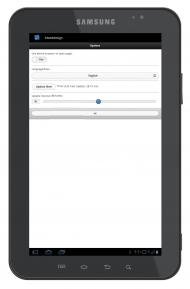 App options page on Tablet 10-inch