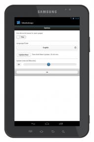 Android App - options page on Tablet 10-inch