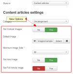 Setting default images in content articles over rules - options